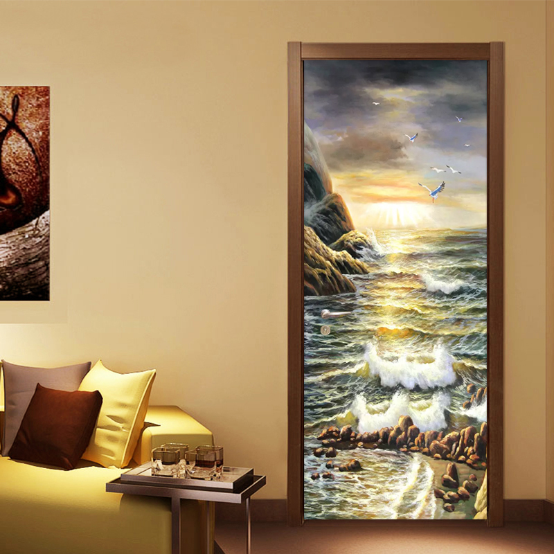 Canvas Print Art 3D Door Sticker Waterscape Picture Home Decor Decals Self Adhesive Waterproof Mural For Bedroom Door Renovation