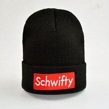 Casual Beanies for Men Women Letter Schwifty Knitted Winter Hat Solid Color Black Hip-hop Hat Bonnet Unisex Cap Gorros недорго, оригинальная цена