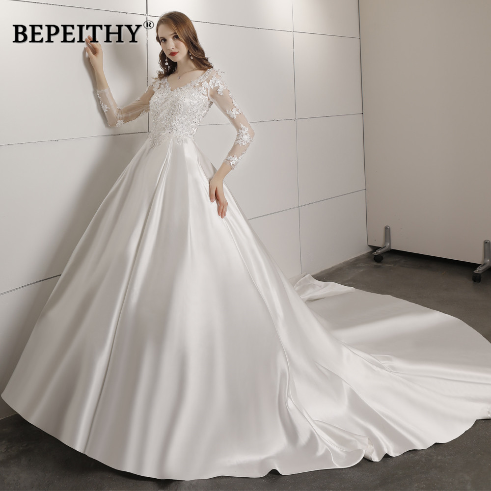 Robe De Mariee Ball Gown Wedding Dress With Full Sleeves Court Train Bridal Satin Lace Vintage