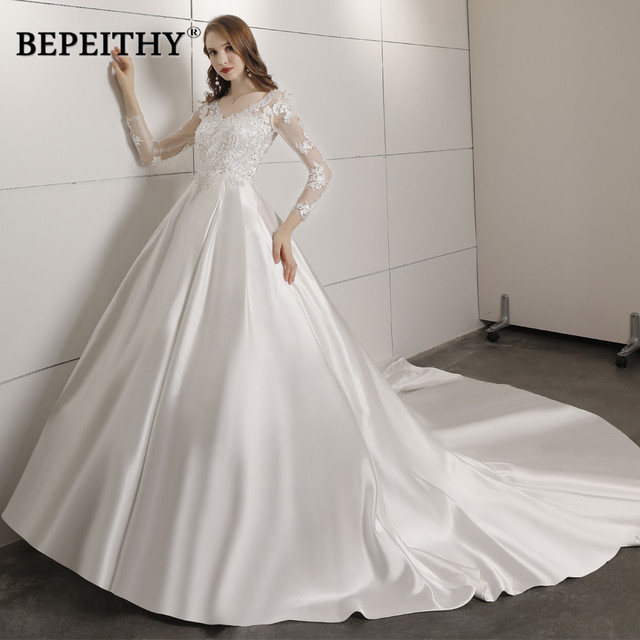 Robe De Mariee Ball Gown Wedding Dress With Full Sleeves Court Train Bridal Satin Lace Vintage Wedding Dresses 2019 Vestidos