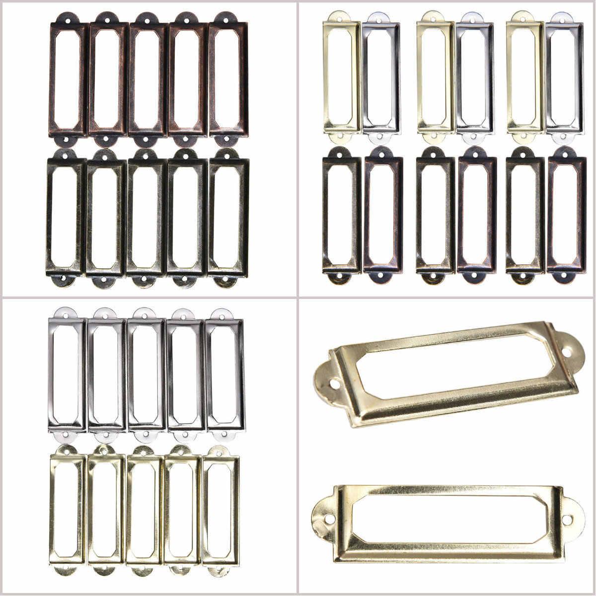 10 Pcs Rótulo de Bronze Antigo do Metal Pull Handle Quadro Titular Do Cartão de Nome de Arquivo Para O Caso Caixa de Gaveta Do Armário Móveis Bin