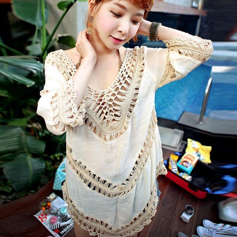̿̿̿(•̪ )Crochet calado de verano material bikini vestido WRAP ...