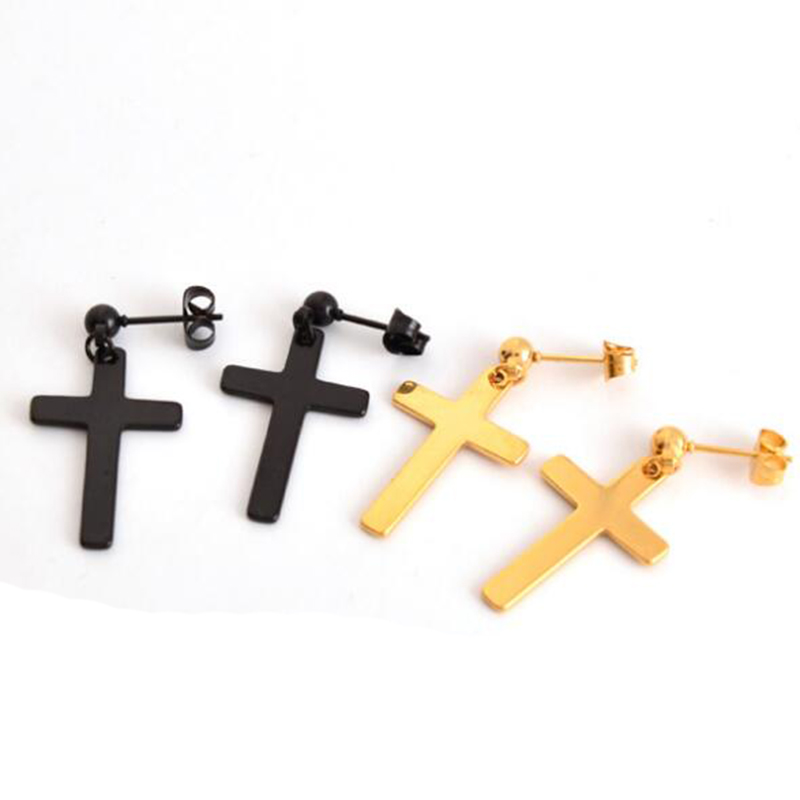 1 Pair 2 Pieces Punk Stainless Steel Cross Stud Earring Men Post Earring Jewelry Black Gold Silver