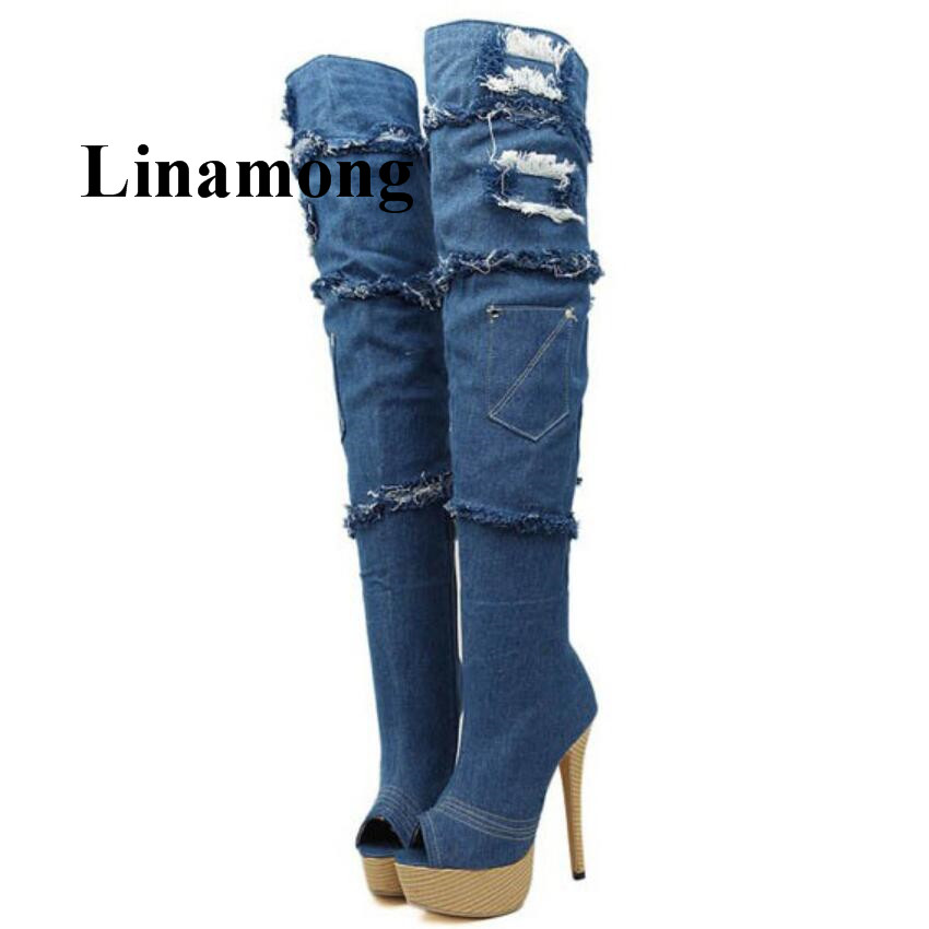Fashion Spring Autumn Denim Boots Platform Peep Toe Thin High Heel Over-The-Knee Sexy Women Boots Fashion Spring Autumn Denim Boots Platform Peep Toe Thin High Heel Over-The-Knee Sexy Women Boots