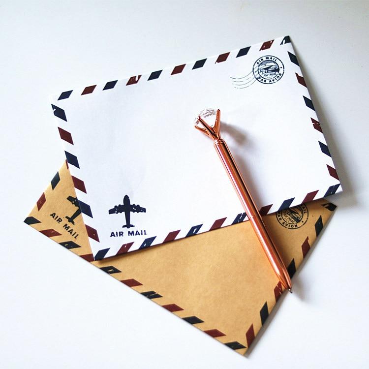 5PCS European Classical White/Yellow Kraft Paper Window Envelopes Air Mail Wedding Invitation Envelope Gift Envelope 17.5*12.5cm