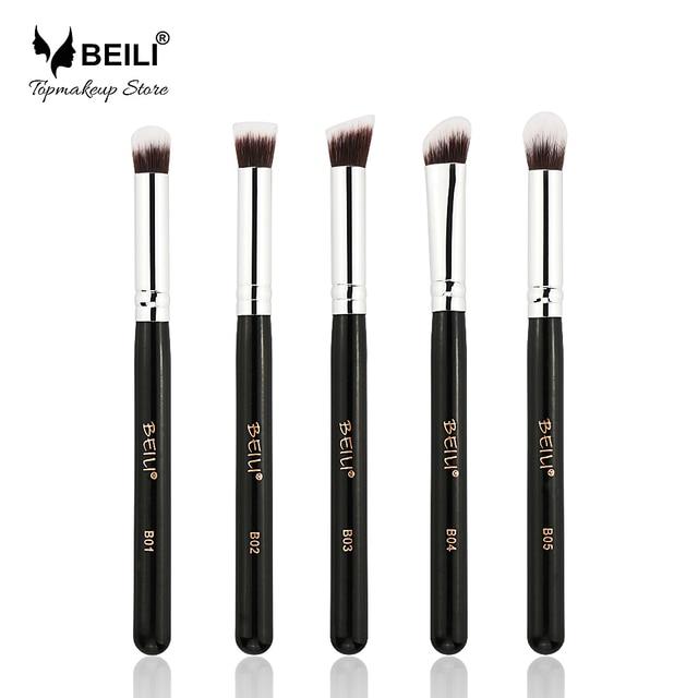 Conjunto de brochas de maquillaje de viaje de sombra de contorno de mezcla de base de Ojos de pelo sintético babuki 5 piezas