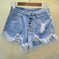 2016 BF verano femenino de viento de Europa y América azul de cintura alta pantalones cortos de mezclilla mujeres usadas rebabas sueltas agujero shorts vaqueros más el tamaño