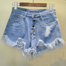 2016 BF vento verão Europeu e Americano feminino azul de cintura alta shorts jeans mulheres desgastado solta buraco rebarba shorts jeans plus size(China (Mainland))