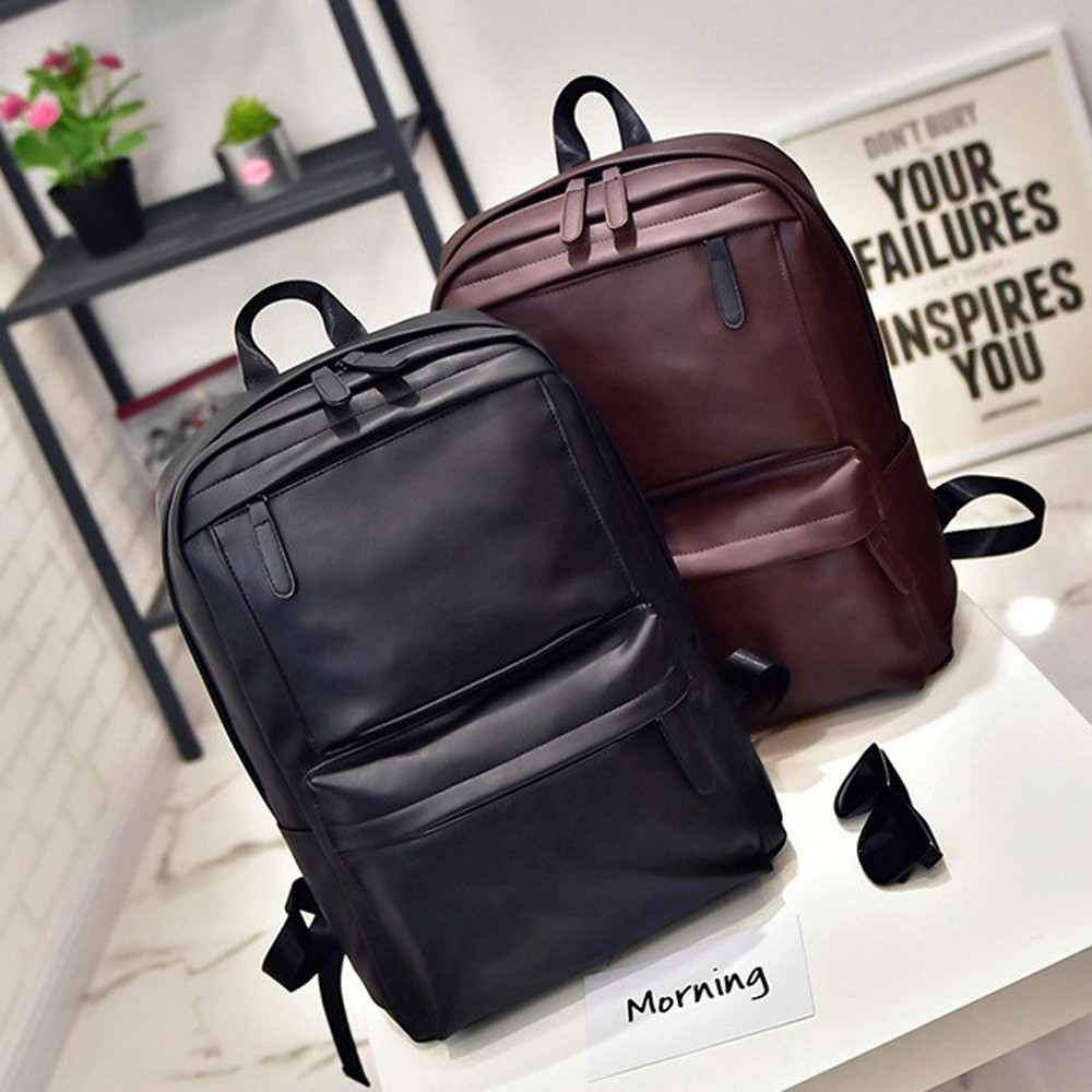 Preppy Style Men's Women's Leather Backpack Laptop Satchel Travel School Rucksack Bag  School Backpack For Teenage