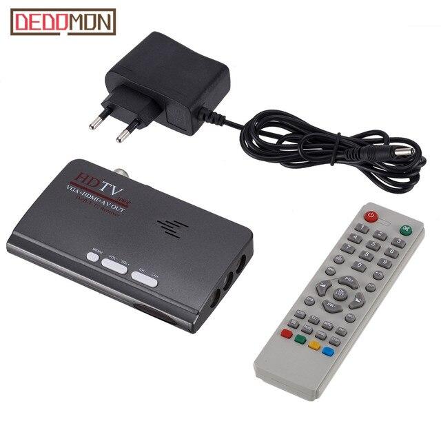 DVB-T/DVB-T2 TV Tuner Receiver DVB T/T2 TV Box VGA AV CVBS 1080 P HDMI kỹ thuật số HD thu vệ tinh Với Điều Khiển Từ Xa