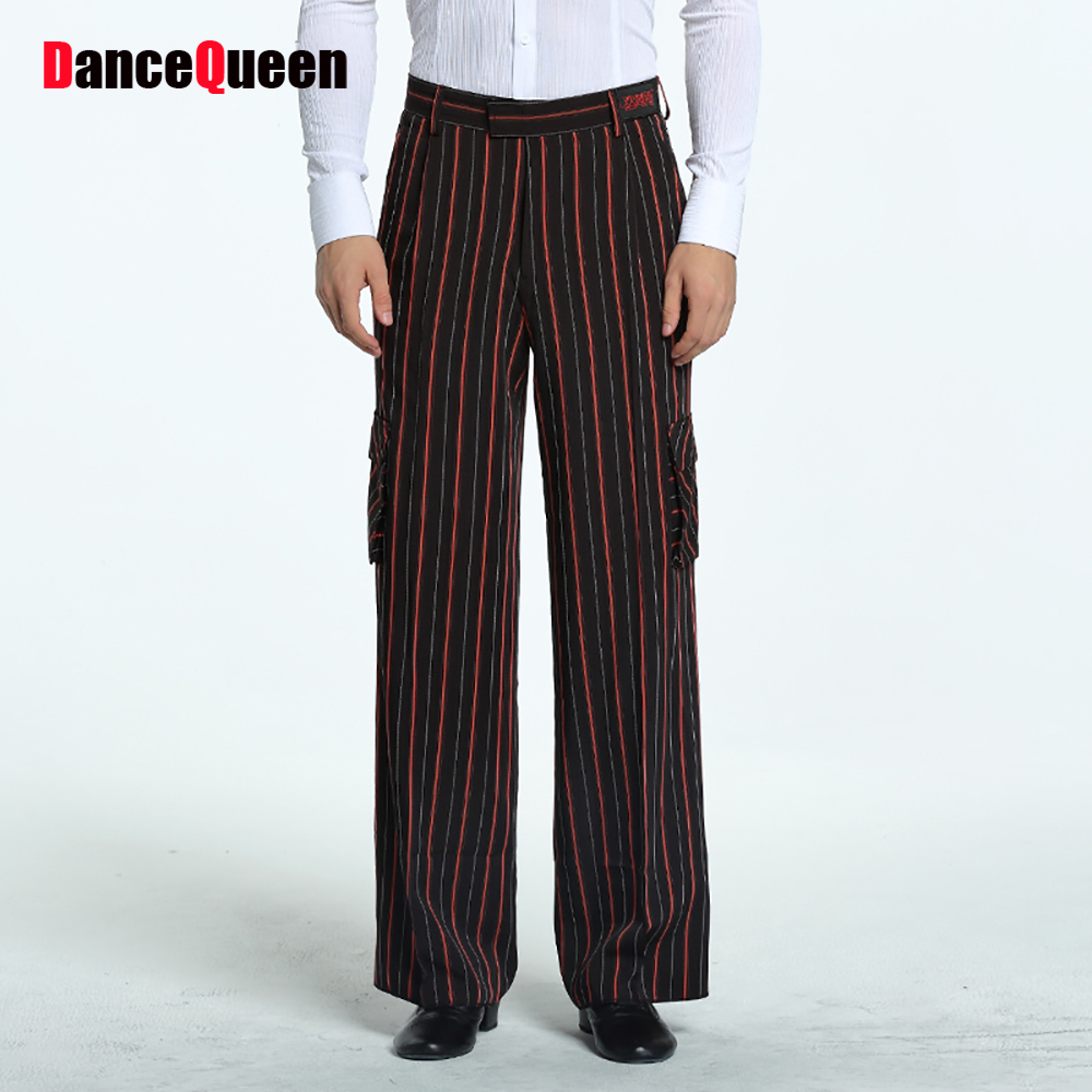 Sexy Latin Dance Pants For Male Black Red Standard Original Fringe Pants Men Adult Ballroom Modern Waltz Tango Trousers Y163