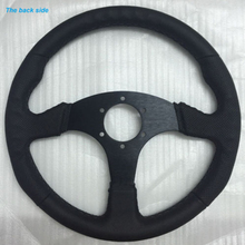 New 350mm Black Artificial Steering Wheel Polyurethane Leather Flat Racing OMP Drifting Rally 70mm*6