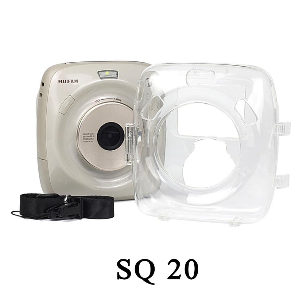 Crystal Case PVC Transparent Strap Shoulder Bag Protector Instant Film Camera Shell Cover for fuji Instax Square SQ20