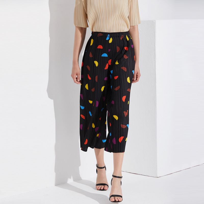 LANMREM 2019 New Fashion Casual Temperament Woman Cropped Trousers Loose Plus Pleated Print High Waist   Wide     Leg     Pants   TC176