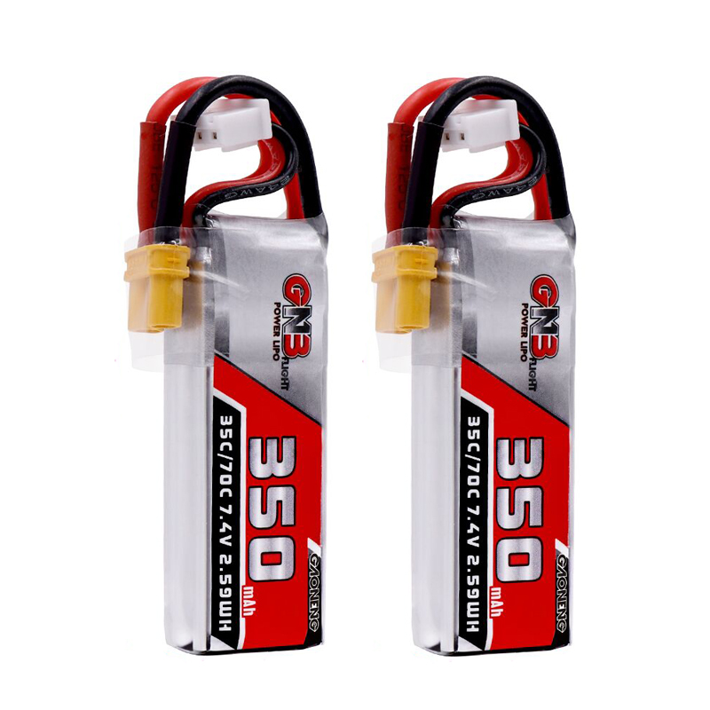 2PCS Gaoneng 350mah 7.4V 35C/70C 2S Lipo battery with XT30 or JST Plug for Beta75X ESKY DLG1000 F300BL DTS130 Tiny Whoop Drone(China)