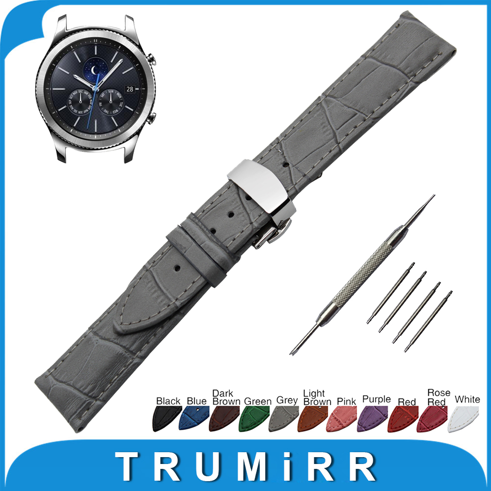 22mm Genuine Leather Watch Band for Samsung Gear S3 Classic / Frontier Stainless Butterfly Buckle Strap Wrist Belt Bracelet 22mm nylon watch band for samsung gear s3 classic frontier zulu fabric strap wrist belt bracelet black gray blue brown green