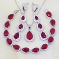 Water Drop Red Created Ruby White Topaz 925 Sterling Silver Jewelry Sets For Women Party Earrings/Pendant/Necklace/Bracelet T017