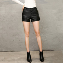 S-3XL Brand Leather Shorts For Women Fashion Solid Casual Pack Hip Slim Short Feminino Black High Quality 2017 Autumn New