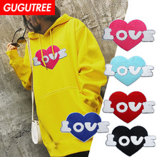 GUGUTREE towel embroidery big love heart patches love patches badges applique patches for clothing XC-309 gugutree rope embroidery sequins big skull patches love heart patches badges applique patches for clothing xc 47