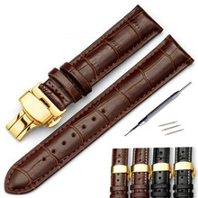 Genuine Leather Watchband 16 18 19 20 21 22 24mm Universal Watch Band Steel Buckle Strap Wrist Belt Bracelet + Tool недорого