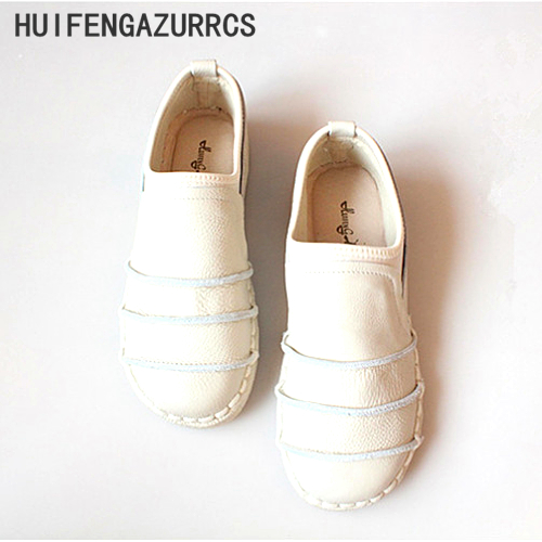 HUIFENGAZURRCS Genuine leather shoes Pure handmade flats shoes The retro art mori girl shoes Simple fashion