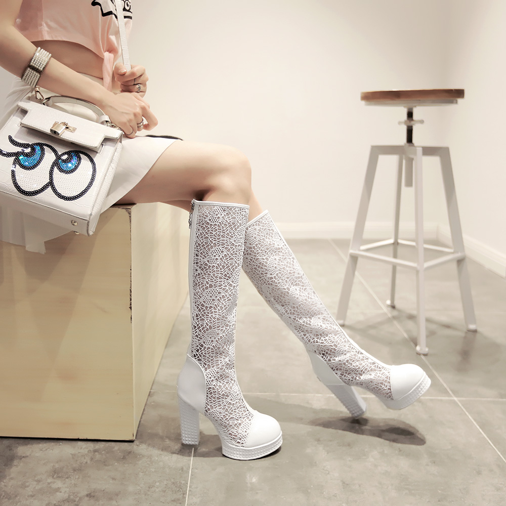 ФОТО Women Cut Out Closed Toe Knee High Summer Boots Cutout Lady Thick Heels Knight Long Boots Fashion High Boots Plus Size43