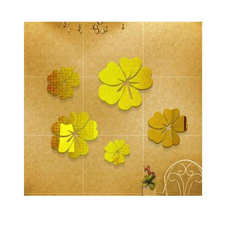 5 pcs Flower Pattern Wall Sticker 3D Home Decoration Wall Art DIY ...