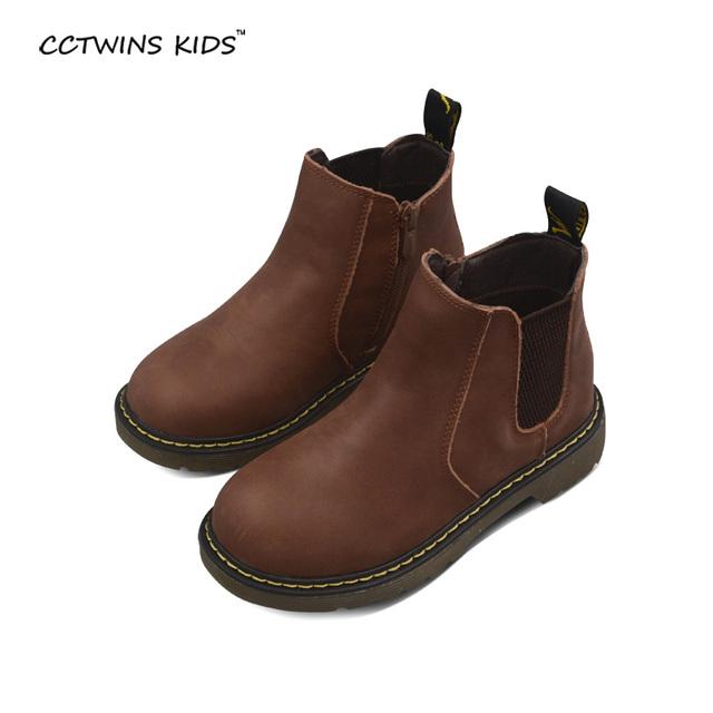 CCTWINS NIÑOS otoño invierno niña de moda de arranque martin para niños mediados ternero botas de niña botas de cuero real zapatos de marca chico negro