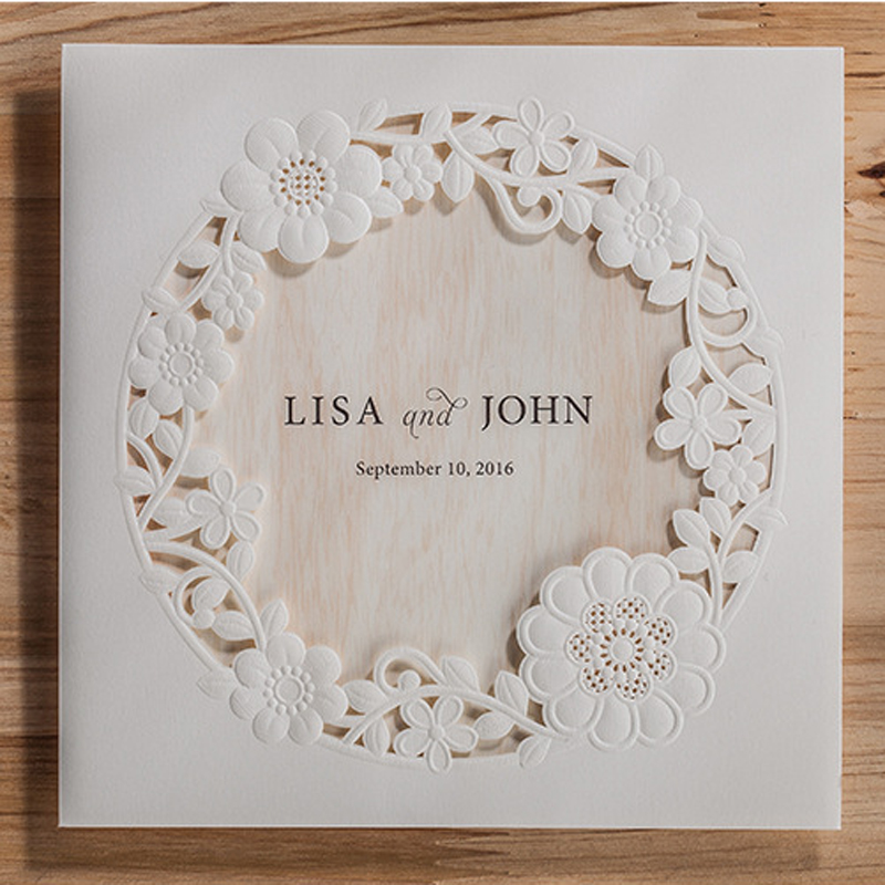 (10 Pieces/lot) Royal White Wedding Invitation Card With Laser Cut Flowers  And