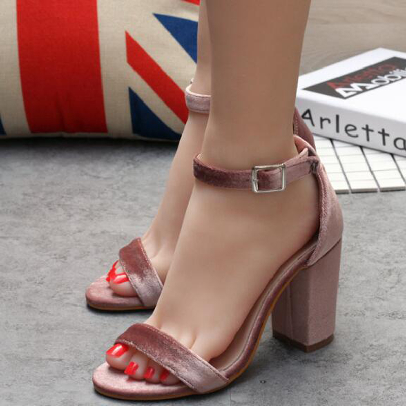 ФОТО pink sandals Ankle Strap heels Women sandals 2017 Chunky Heels Summer Sandals for women pumps thick high heels party shoes X430