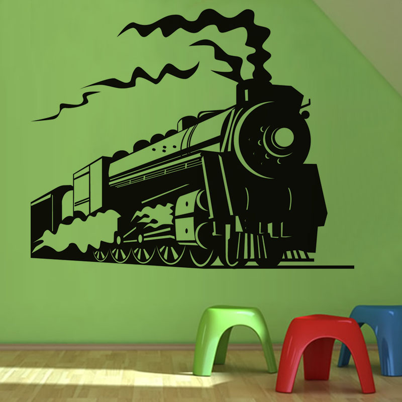 Steam Train Wall Sticker Home Decor Removable Living Room Children Kids  Room Decoration Nursery Wall Decals  In Wall Stickers From Home U0026 Garden On  ...