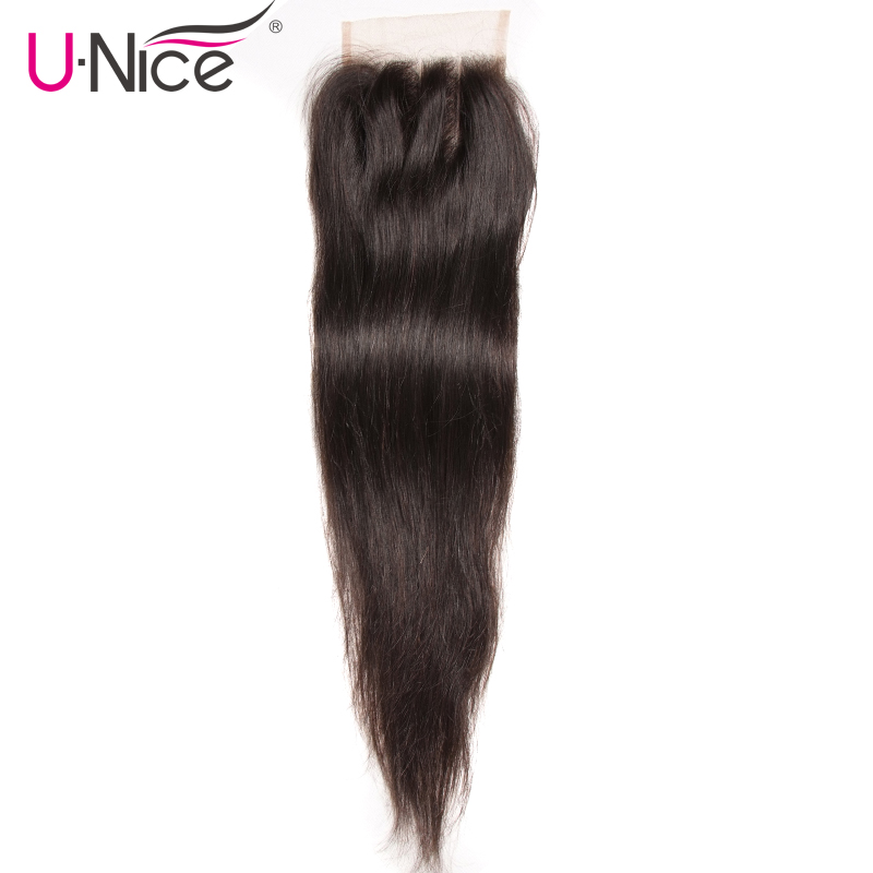 UNICE HAIR Three Part Brazilian Straight Hair Closure Swiss Lace Size 4 x4 Remy Hair Lace