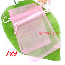 Free Delivery 100PCS Pink Jewellery Packing Drawable Organza Baggage Wedding ceremony Present Baggage 7CMX9CM(W03182)