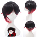 RWBY Red Trailer Ruby Red Black Gradient Short Cosplay Wig