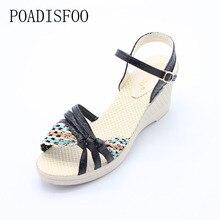 Poadisfoo женские босоножки на танкетке обувь на платформе с Соломенной Плетеной тесьмой разноцветная с устойчивым каблуком обувь на высоком каблуке. XL-Q-M2