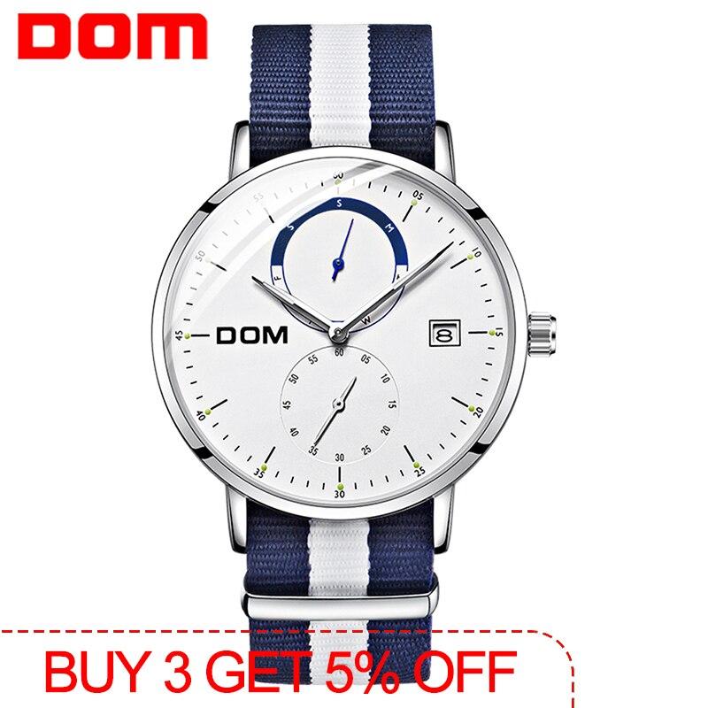 DOM Men Watches Luxury Brand Multi Function Mens Sport Quartz Watch Waterproof Steel Belt Business Clock Wrist Watch M-436D-7M