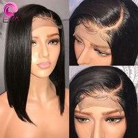 ЕВА короткие натуральные волосы боб парики для черный Для женщин предварительно сорвал прямо Full Lace натуральные волосы парики с ребенка вол