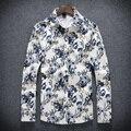 Хорошее Качество Мужчины цветочный красивый узор Мужские Рубашки Повседневные Slim Fit Стильный Длинным Рукавом Рубашки M-5XL