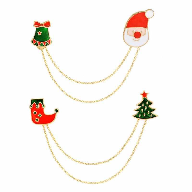 Christmas Gift Emaille Sneeuwpop Bell Schoenen Boom Kruk Gift Stud Shirts Kraag Clip Hals Tip Broche Pin Chain Voor Xmas sieraden