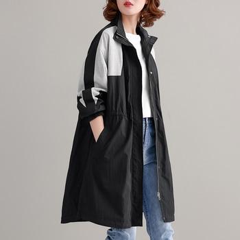 Las mujeres ropa de primavera otoño Casual suelto medio-longitud Trench Patchwork-Cintura abrigos