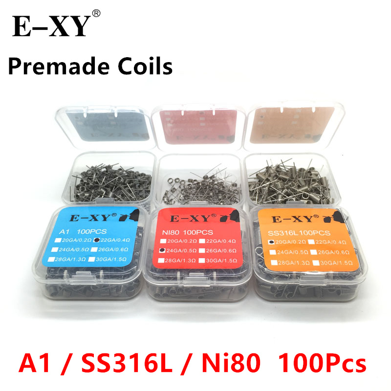 100pcs/Pack A1/SS316/Ni80  Premade Coil Wire Coiling Prebuilt Coil Resistance 20 22 24 26 28 30 GA Heating Wire For DIY RDA RTA