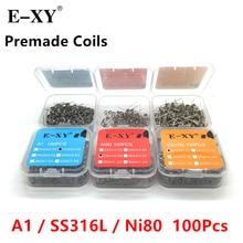E-XY 100 unids / paquete A1 / SS316 / Ni80 Bobinado de bobina de alambre Prebuilt Coil Resistance 20 22 24 26 28 30 GA Bobina de calentamiento de alambre para DIY RDA RTA