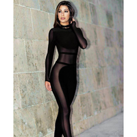 Women Sexy Long Sleeve Side Mesh Transparent Hollow Out Black Jumpsuit Women Party Wear Clothing Night Club Hot Bodycon Romper