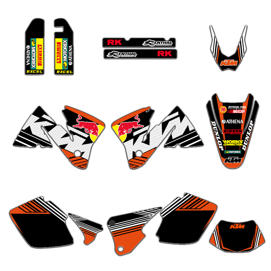 NEW TEAM GRAPHICS WITH MATCHING BACKGROUNDS DECALS STICKERS FIT For KTM EXC 250 300 350 400 520 2001-2002 MXC 200 300