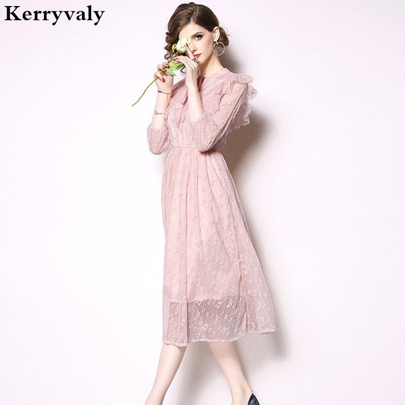 3c971be2e17 Spring Sweet Large Pendulum Pink Lace Dress Ropa Mujer Invierno 2019 Midi  Party Runway Shirt Women