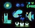 Ярко-Желтый-зеленый Светящийся Камень Скол по Аквариум Светиться в Темноте Песок Стеклянная пробирка бутылка Ногтей Ювелирные Изделия 100 г/лот
