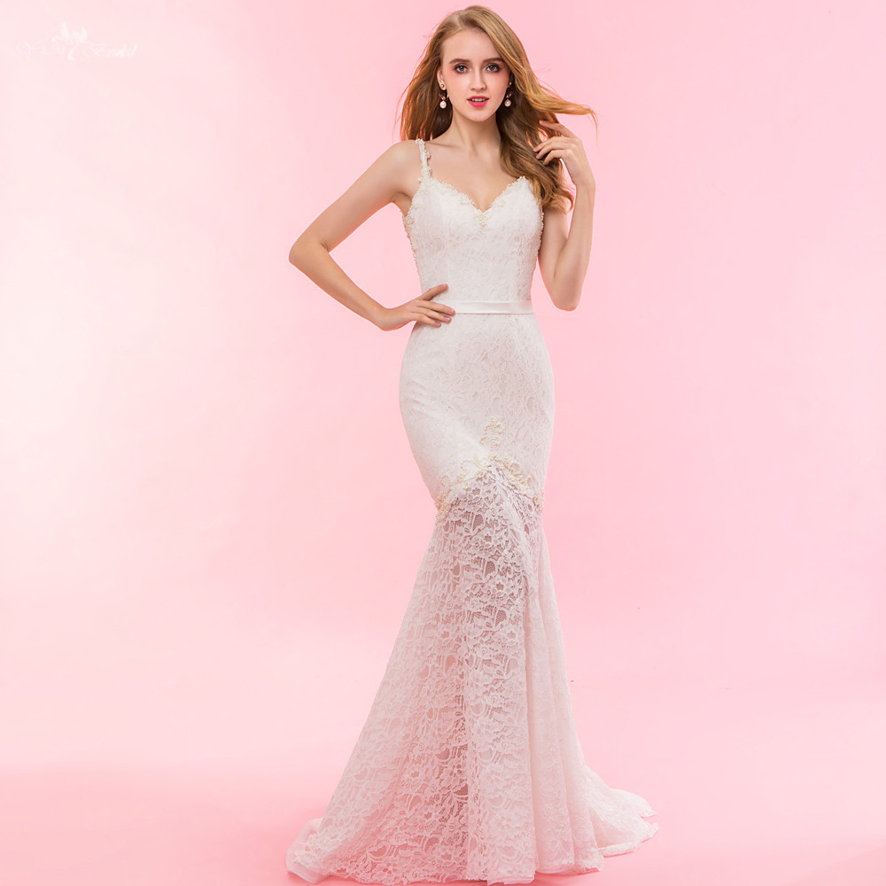 RSW1325 Real Pictures Yiaibridal Sheer Skirt Mermaid Lace Bohemian Wedding Dresses