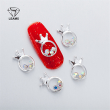 10Pcs 3D Nail Art Decorations Metal Circle shape Silver Crown Glitter Rhinestones Nails Charms Diamonds For Manicure Decor