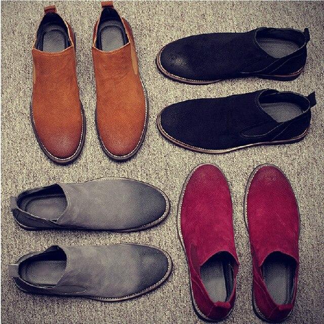 British men's shoes male fashion Genuine leather boots matte leather snow chelsea boots zapatillas hombre chelsea boot