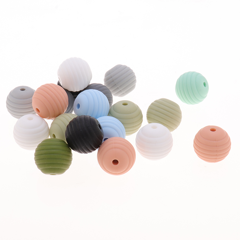 20pc Spiral Silicone Beads 15mm Chewable Teething Beads For Soothing Pacifier Clip DIY Spacer Teething Beads BPA Free